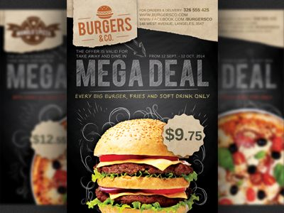 Restaurant Fast Food Promotion Flyer Template  Flyer Template And