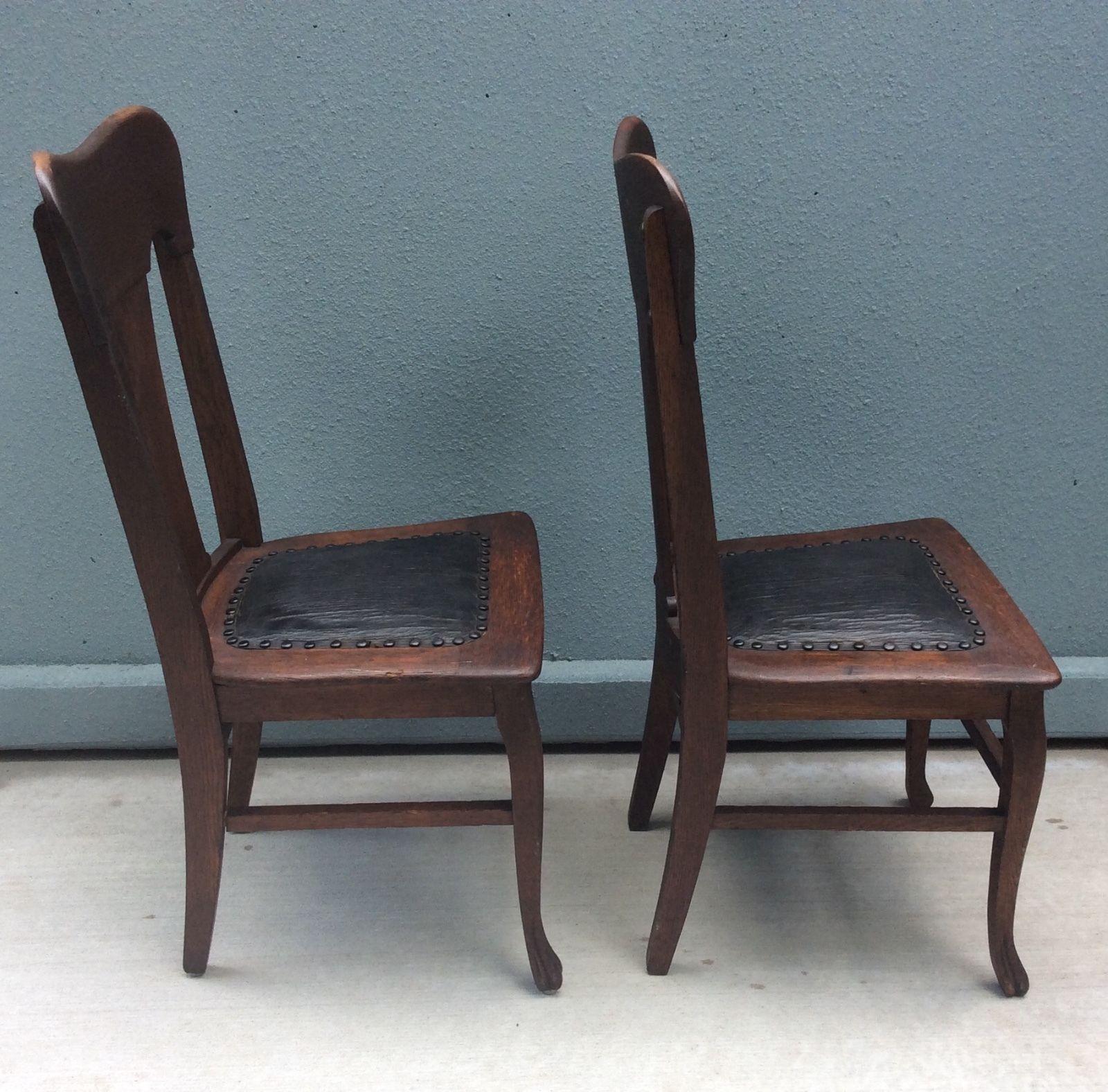 Victorian Set Two Tiger Oak Quartersawn Dining Chairs w Original ...