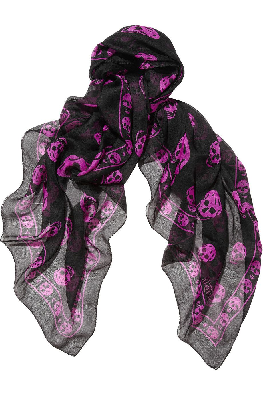 Alexander McQueen | Skull-print silk-chiffon scarf | Black/Purple | I'm really into folding light weight scarves as thick head bands to keep warm.