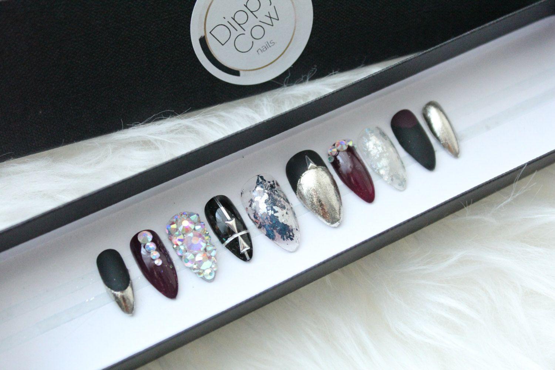 Matte Black Burgundy Chrome Press on Nails | Swarovski Crystals ...