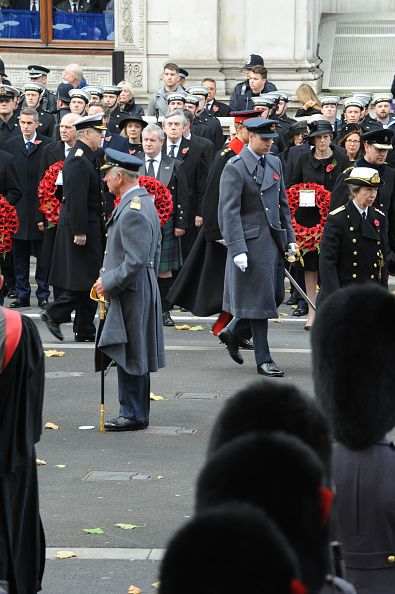 Prince Charles, The Prince of Wales, Prince Andrew, Duke of York, Prince William, Duke of Cambridge, Prince Harry, Princess Anne, Princess Royal, and Prince Edward, Earl of Wessex attend the Remembrance Sunday 2017 in Whitehall London at cenotaph