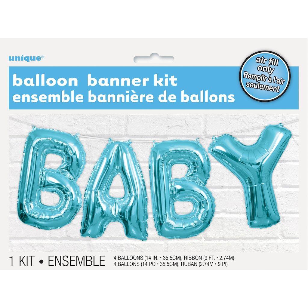 Foil blue baby letter balloon banner kit baby shower