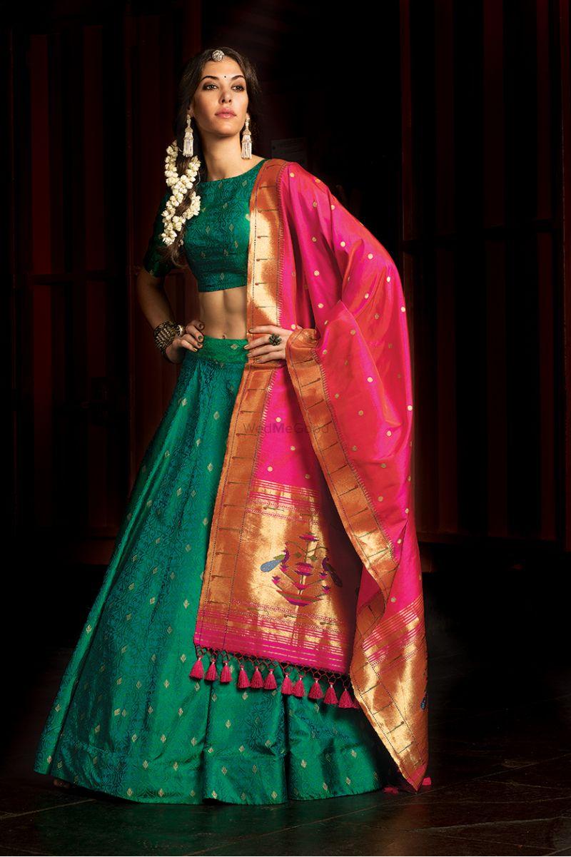 c06b3c958e Dark green silk lehenga with pink zari dupatta | Designer wear ...