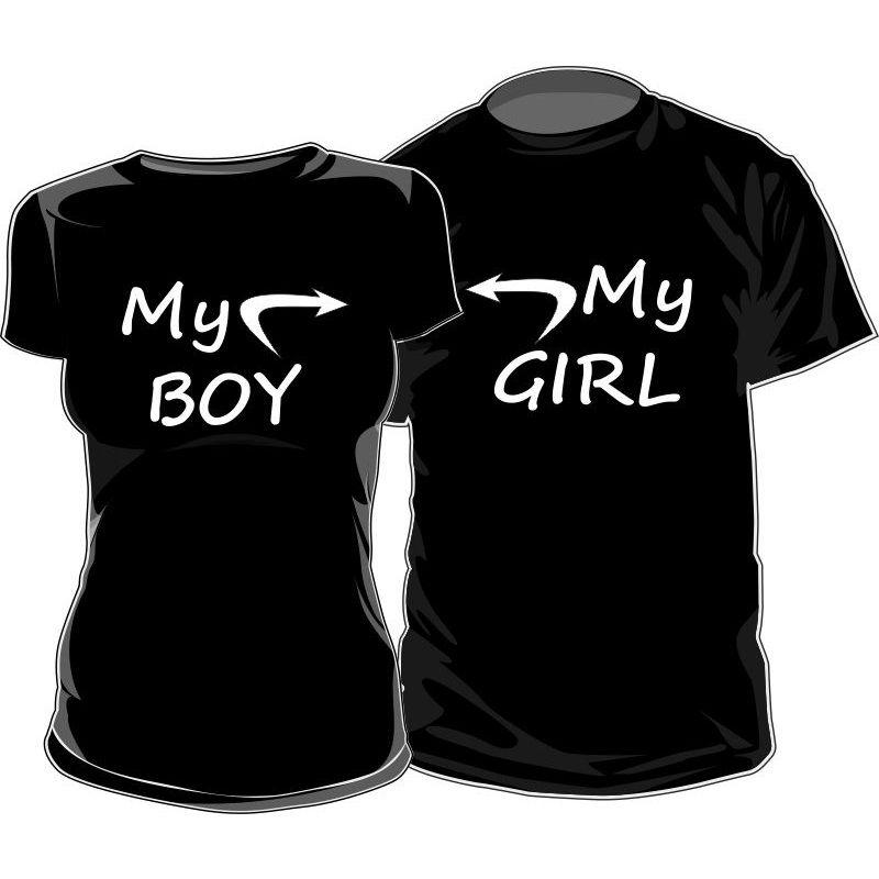 2f81448dd3277 Lot de 2 T-shirts pour amoureux   MY BOY   MY GIRL - Pour amoureux - SiMedio