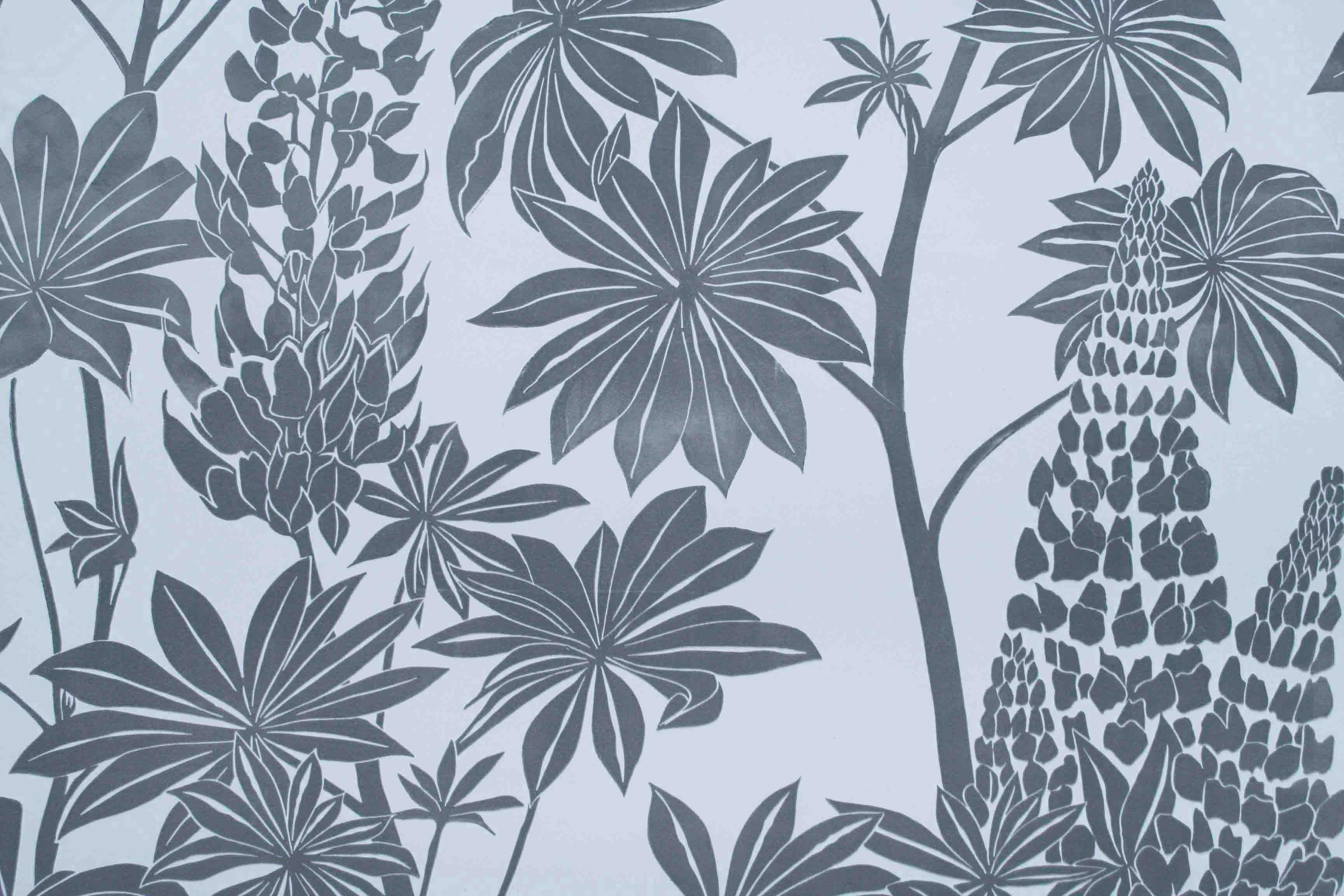 hand printed wallpaper  Lupins, handprinted linocut wallpaper by Anneliese Appleby. http ...
