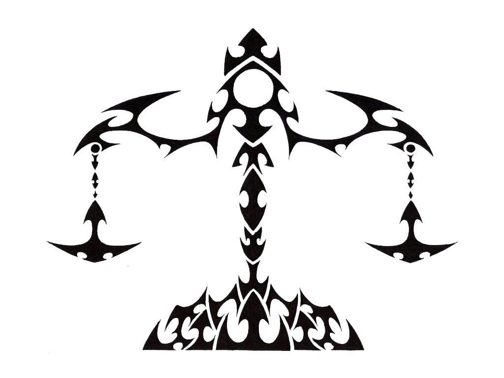 Attractive Black Tribal Libra Zodiac Sign Tattoo Stencil Libra Zodiac Tattoos Libra Tattoo Celtic Zodiac