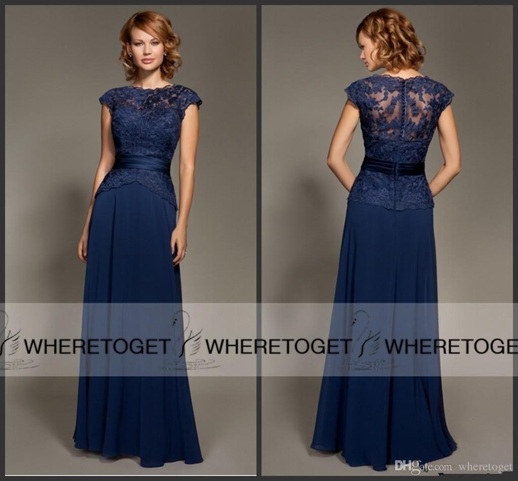 2015 Navy Blue Cap Sleeve Bridesmaid Dresses Vintage Lace