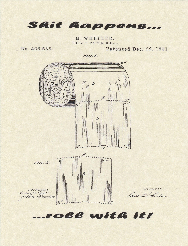 Toilet Paper Roll Patent Bathroom Humor Restroom Metal Sign