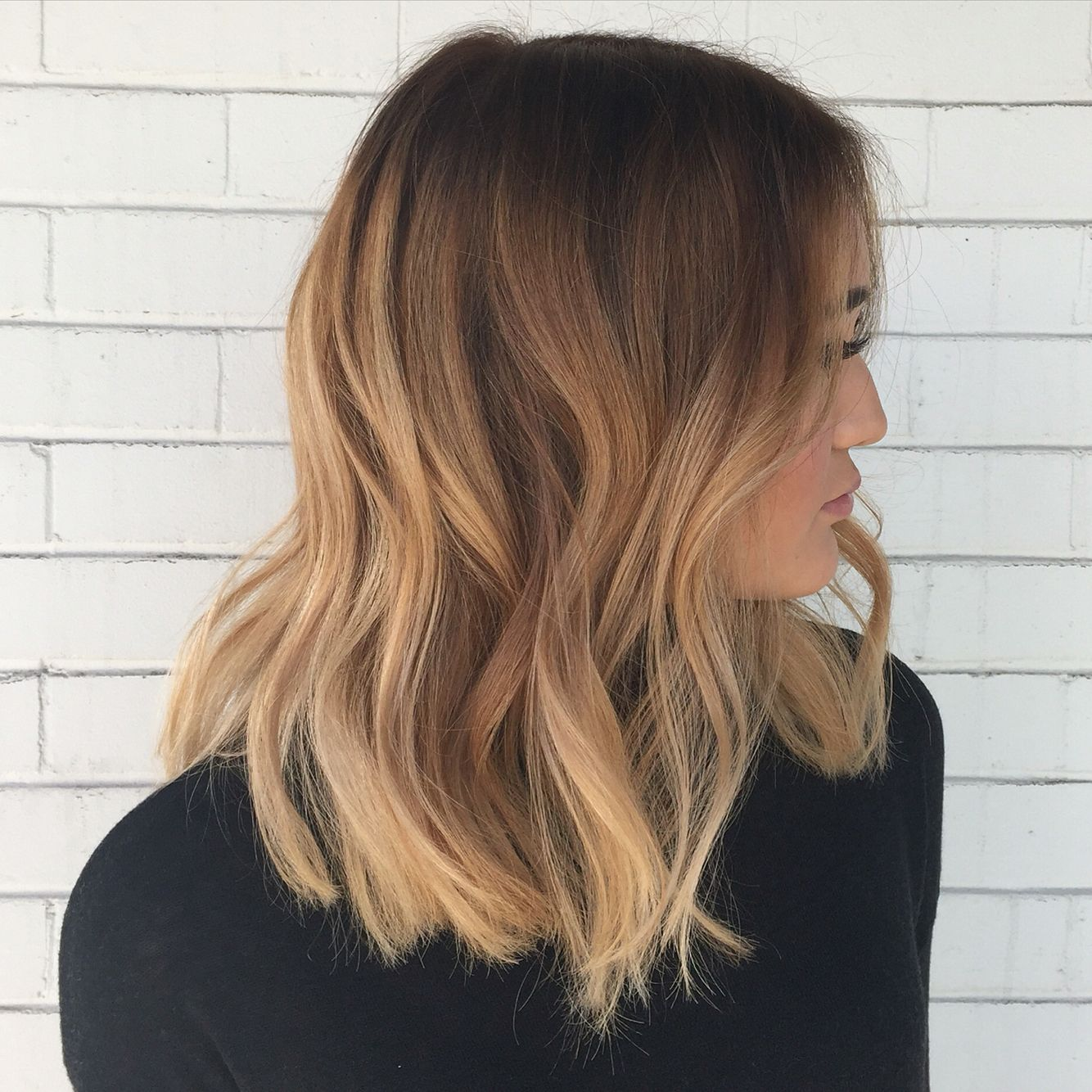 Full Hair Painting/ Balayage and a blunt long bob for this