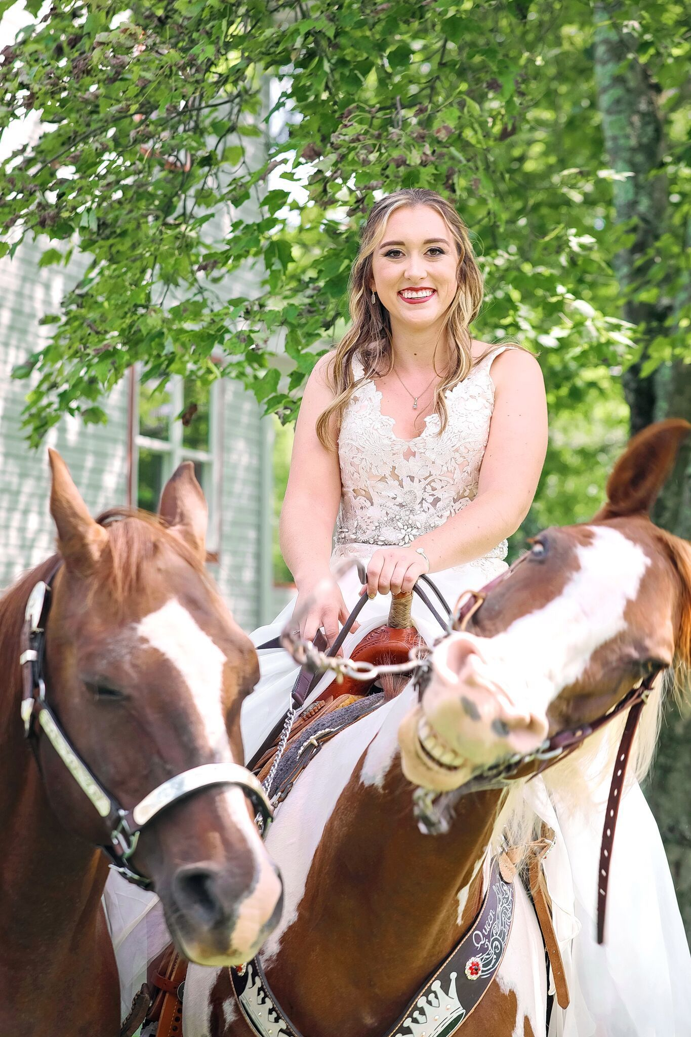 Horse Upstages Bride by Posing With the Biggest Smile in Hilarious Wedding Photo