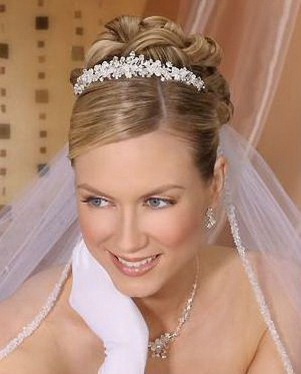 Wedding Hairstyles With Headband And Veil: Bridal Updo Hairstyles With Tiara