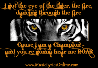 "Katy Perry - Roar music lyrics, song lyrics, songs, song quotes, music quotes, ""I got the eye of the tiger, the fire, dancing through the fire, cause I am a champion and you're gonna hear me ROAR!"""