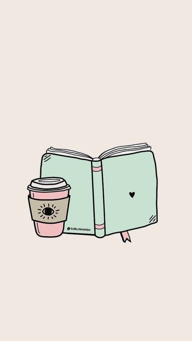Book And Coffee Phone Wallpaper Book Wallpaper Kawaii Wallpaper Cute Wallpapers Cute aesthetic wallpapers coffee