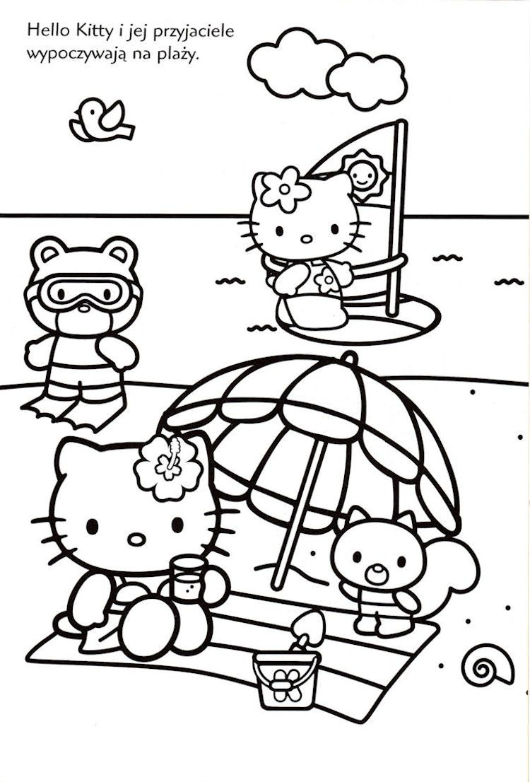 Hello Kitty At The Beach In Black And White