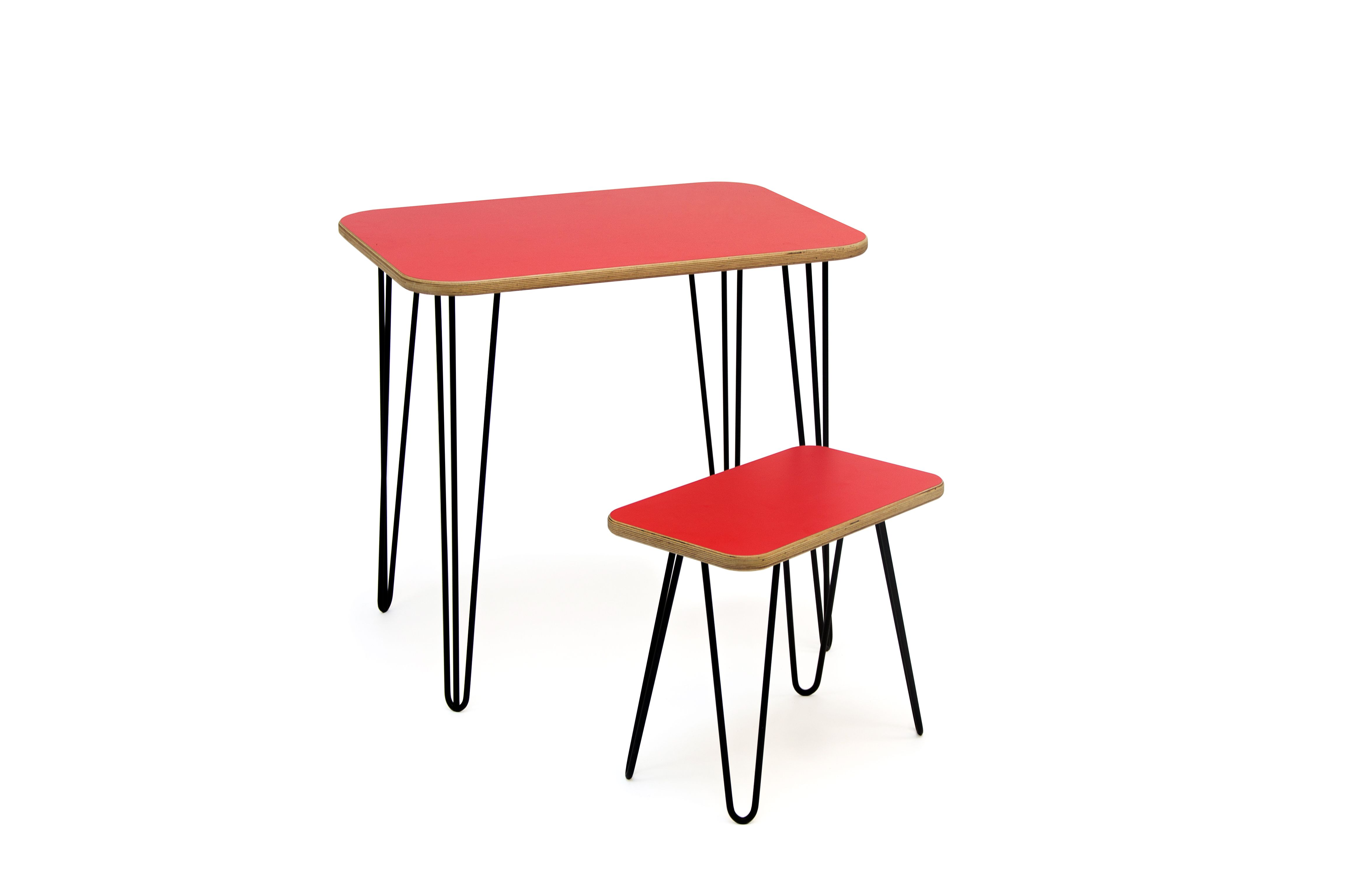 Englert Table & Stool Set. Formica laminated birch plywood