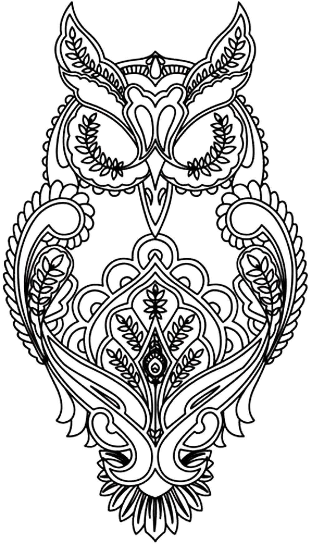 Coloring pitchers of animals - Free Coloring Page Coloring Adult Difficult Owl