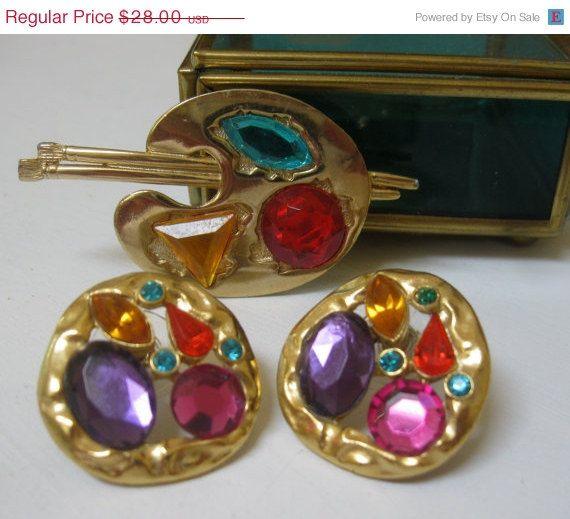 SALE 15 OFF Vintage Painters Artist Palette Rhinestone Pin & Earrings Signed by Sisters2Vintage, $23.80