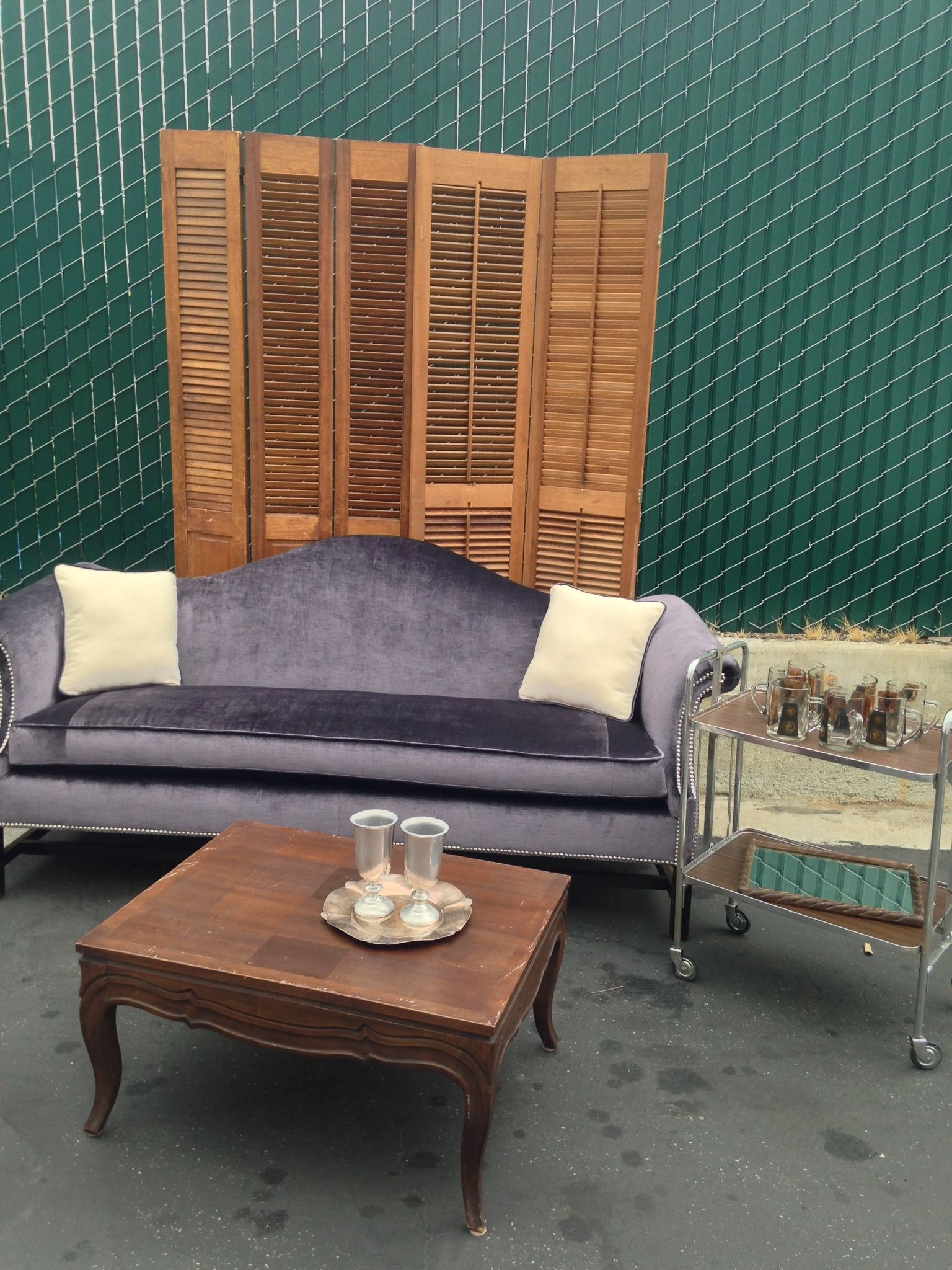 Mid Century Modern Lounge: Prince Sofa, Mad Men Bar Cat, Shutters, Inlay