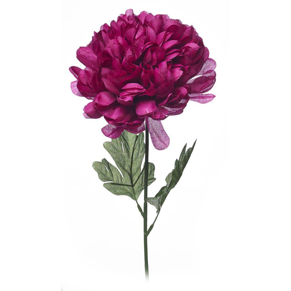 Pom Pom Magenta Single Stem Silk Flowers