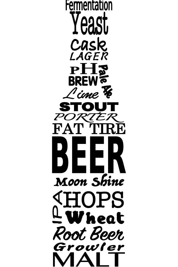 Svg Beer And Beer Brewing Terms In The Shape Of A Beer Bottle