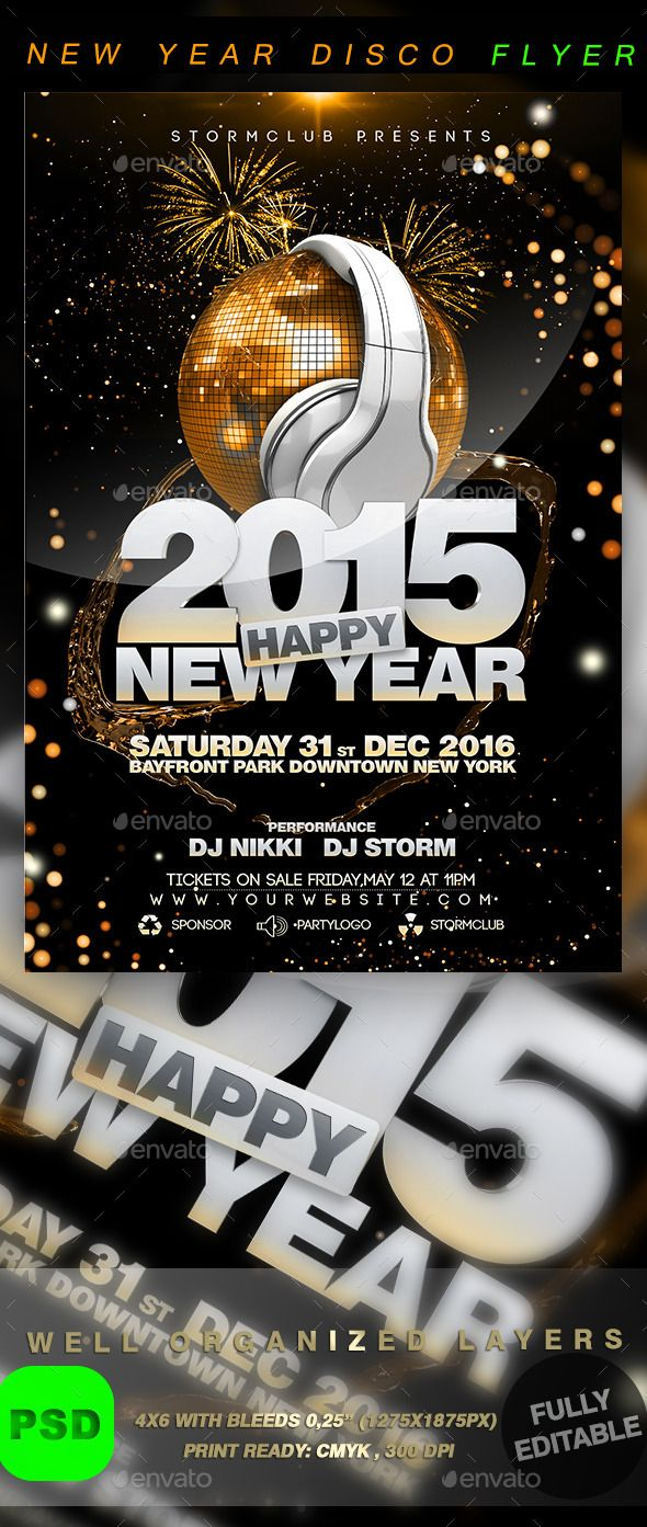 New Year Disco Flyer Template  Flyer Template Christmas Flyer