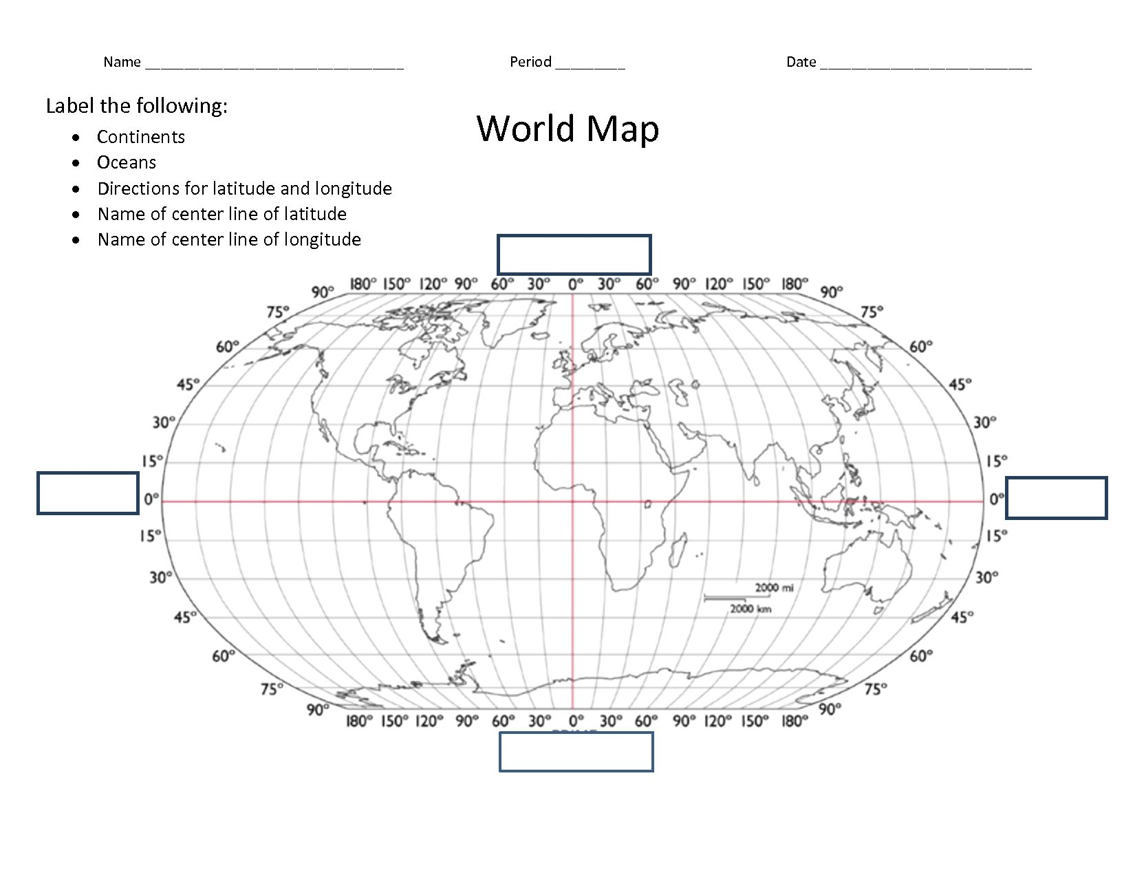 Facts Latitude And Longitude World Map Worksheet