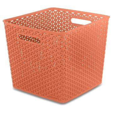 Y-Weave Large Square Storage Bin - Peach - Room Essentials™