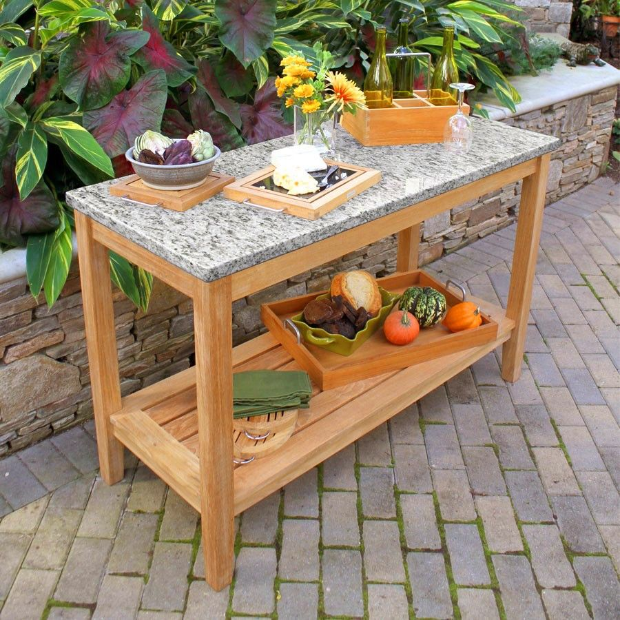 Teak Outdoor Tables Berwick Console New Caledonia Granite Country Casual