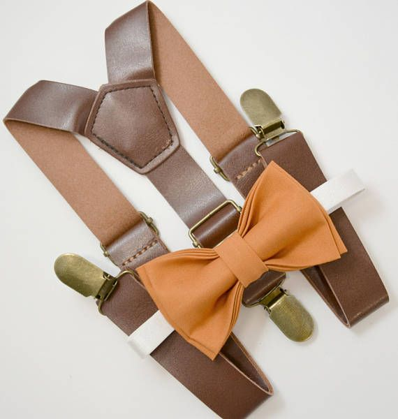 ADULT SET Kids Boys Mens Beige Tan Suspenders /& Burnt Orange Bow tie Infant