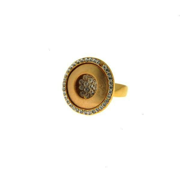 Minimal Ring Minimal Ring with Gold Plating and White Sapphires Επίχρυσο Μίνιμαλ Δαχ&t...