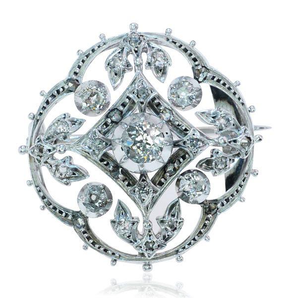 Perlen Brosche Diamantbrosche 585 Gold Brosche Rubin Perle Brillant Diamant Unikate & Goldschmiedearbeiten Broschen & Nadeln