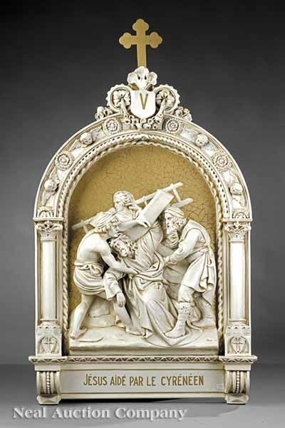 """French Plaster Bas Relief Sculptures of the Stations of the Cross, 19th c., 5th station """"Jésus aide par le Cyreneen"""","""