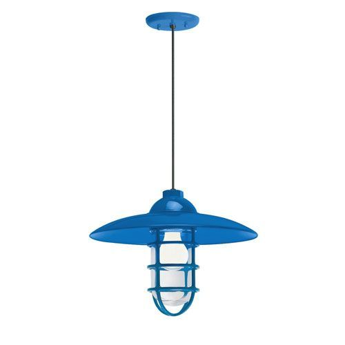 Retro Industrial Blue One-Light Outdoor Dome Pendant
