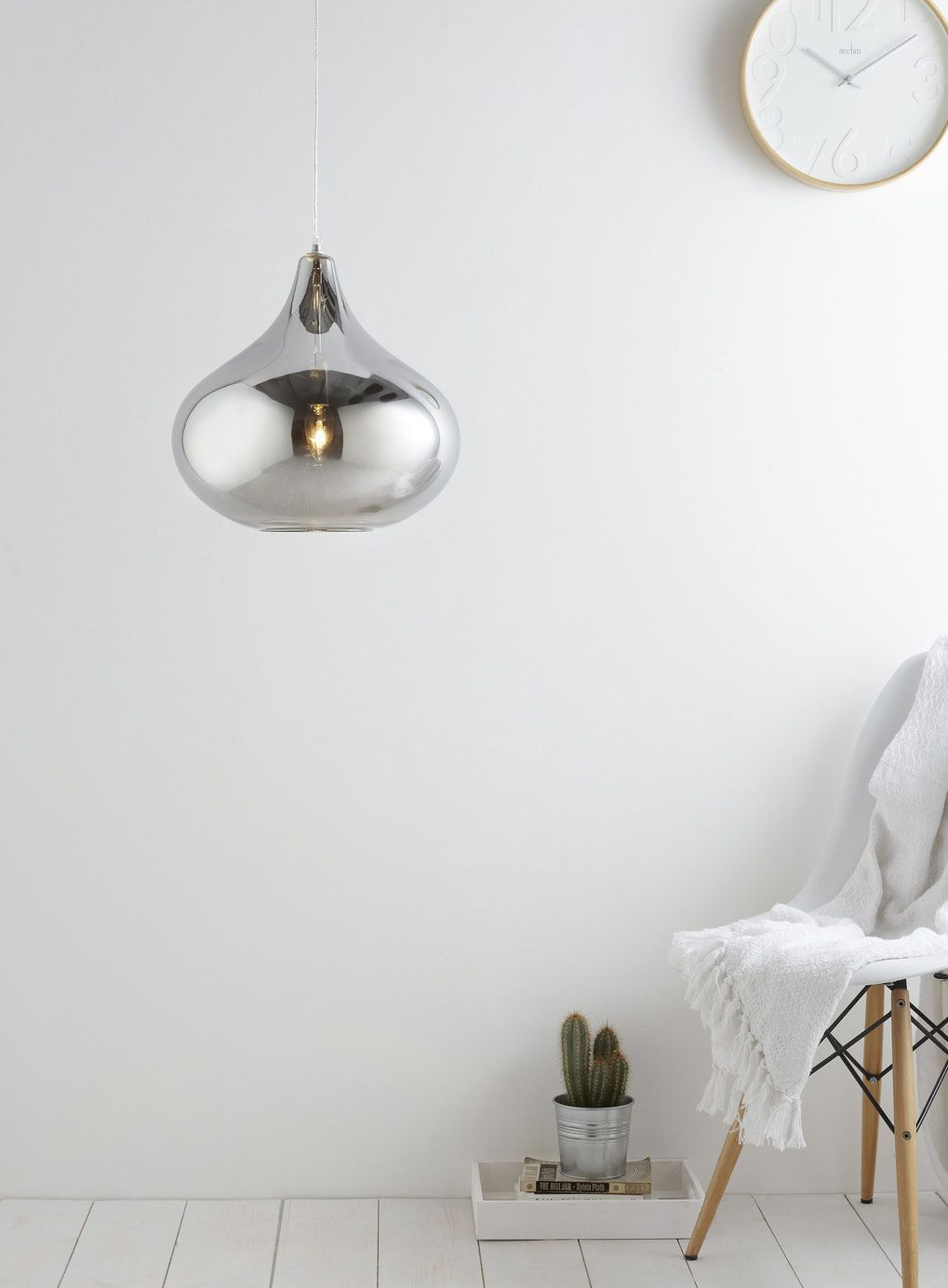 BHS Smoke Lily Round Pendant Light Weak Emitted Though