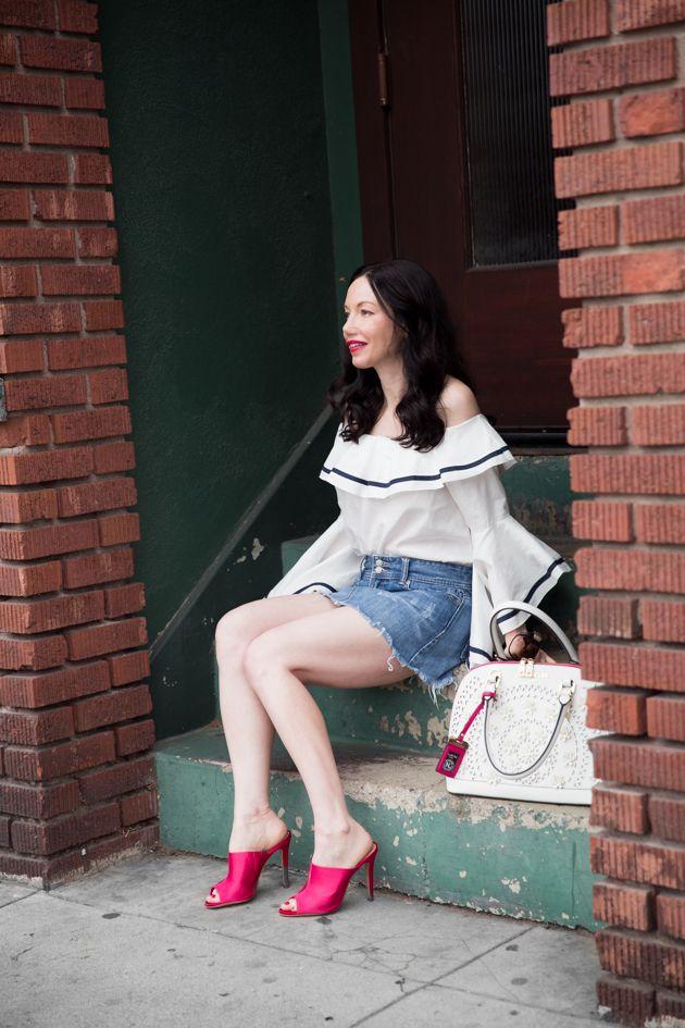 78a65d6b78c Fashion Blogger Lisa Valerie Morgan wears Storets off shoulder top