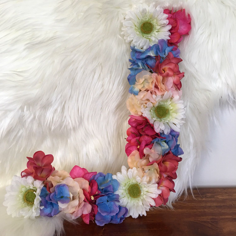 """Large Letter J For Wall Large Floral Letter """"j""""  Childrens Room Decor  Ombre Flower"""
