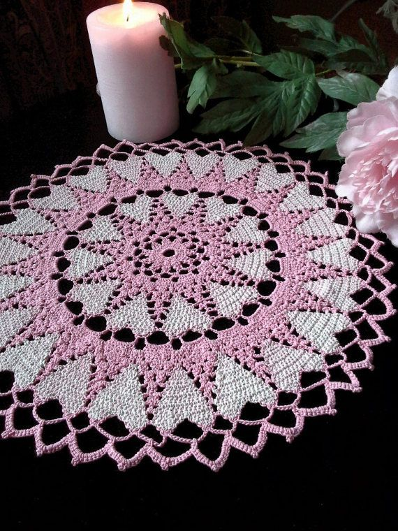 Crochet round doily Lace table topper Pink doily Crochet lace Hand ...