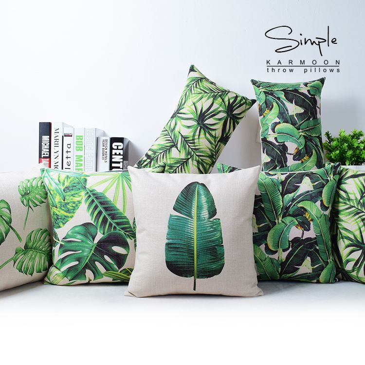 pas cher tropical monstera feuille vert housse de coussin en lin coussin cas banane feuille de. Black Bedroom Furniture Sets. Home Design Ideas