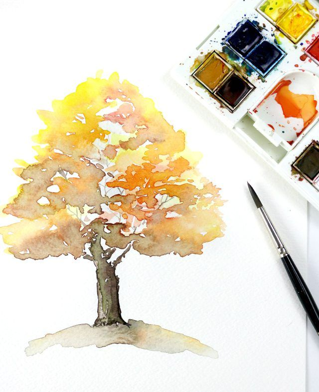 Easy Autumn Tree Watercolor Painting Watercolor Trees Tree