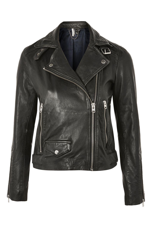 TALL Black Leather Biker Jacket Black leather biker
