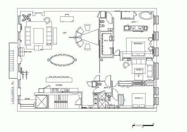 Noho Loft Floor Plan 4000sf Two Sides Of Windows Open Concept Loft Floor Plans Cabin Floor Plans Floor Plan Design