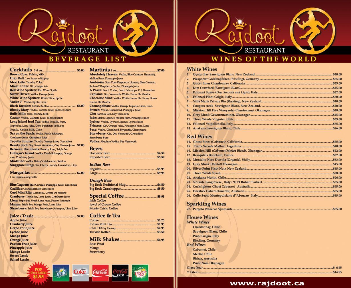 Indian restaurant calgarys wine menu calgary