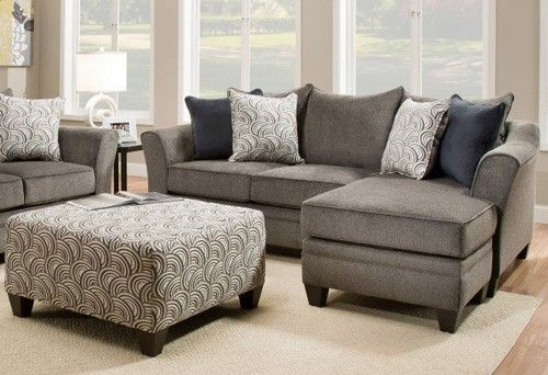 Simmons Upholstery Albany 2 Piece Sofa Chaise Set In Pewter