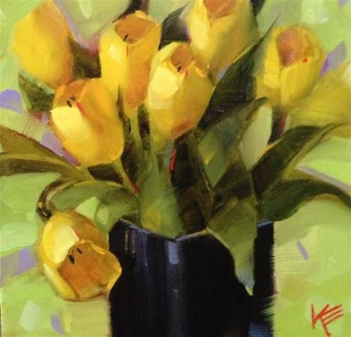 Yellow on Lime - Original Fine Art for Sale - © by Krista Eaton