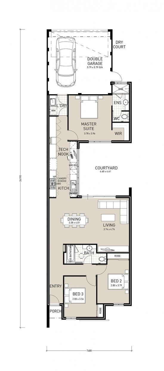 Centro Exclusive A Well Designed Rear Garage Plan To Make The Most Of Small Lots As Narrow As 7 5 Narrow House Plans Narrow Lot House Plans House Floor Plans