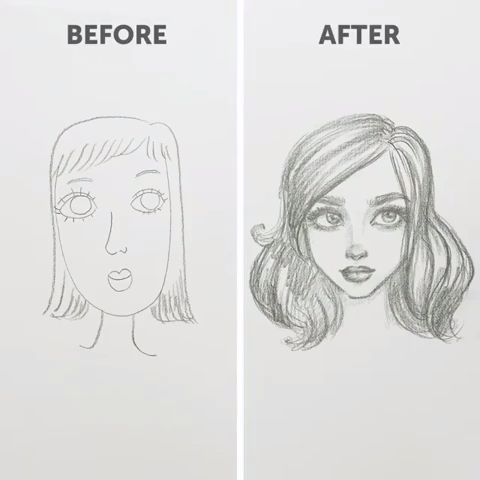 How to draw faces (for beginners). Part Two