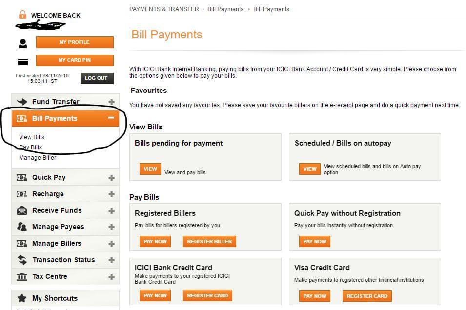 icici credit card online payment details
