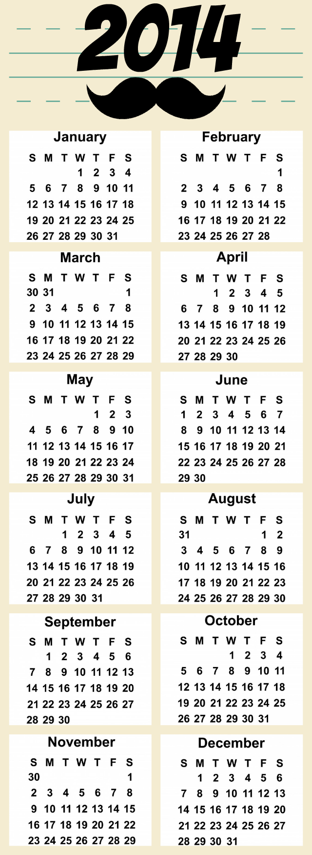 Free Printable Yearly Calendar  I Mustache You   What Day