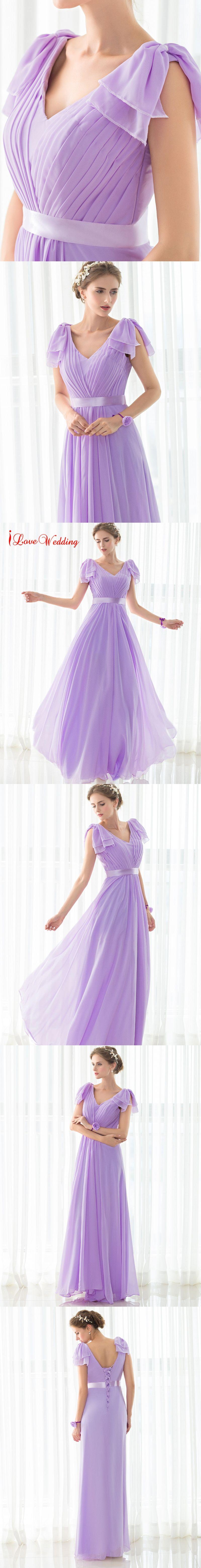 2017 Hot Sale Long Purple Bridesmaid Dresses Chiffon Pleat ...