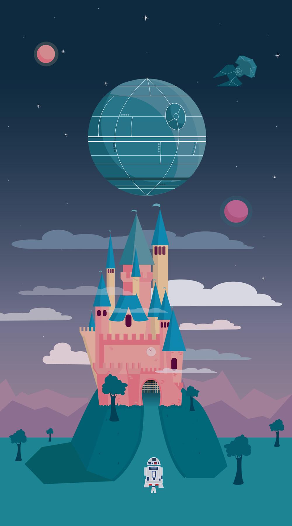 Tiefighters Disney Star Wars Castle Created By Lara Pater In 2020 Star Wars Wallpaper Disney Star Wars Star Wars Wallpaper Iphone